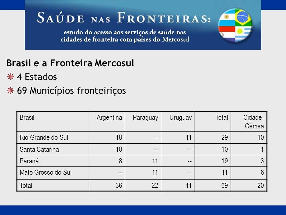 Brasil e a Fronteira Mercosul 4 Estados 69 Municípios fronteiriços
