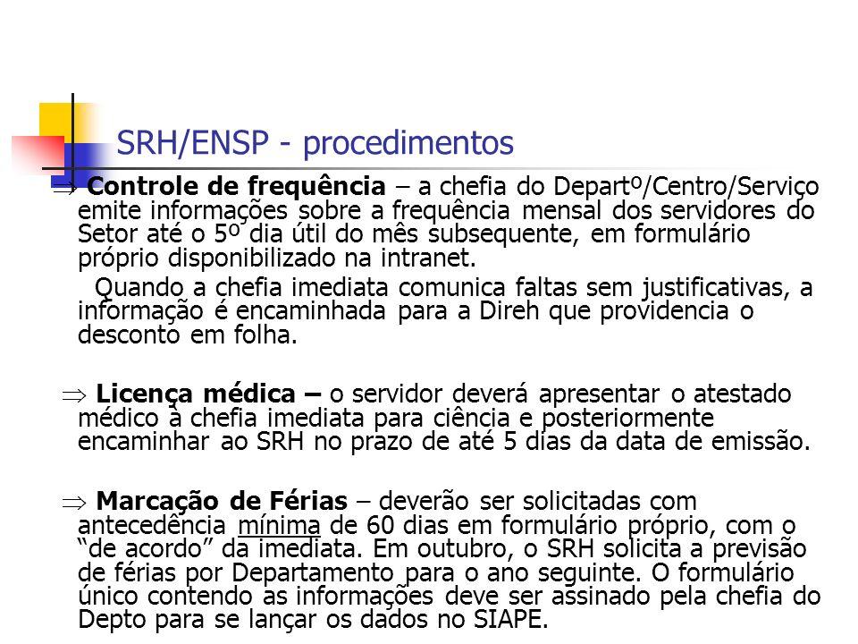 SRH/ENSP - procedimentos