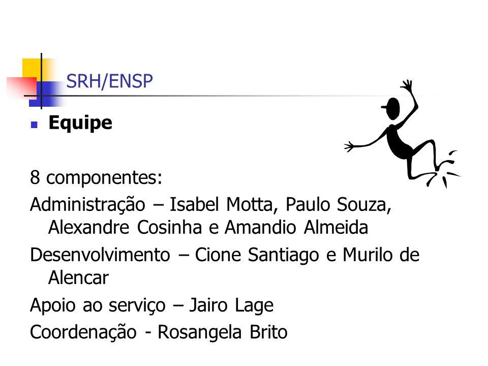 SRH/ENSP Equipe. 8 componentes: Administração – Isabel Motta, Paulo Souza, Alexandre Cosinha e Amandio Almeida.