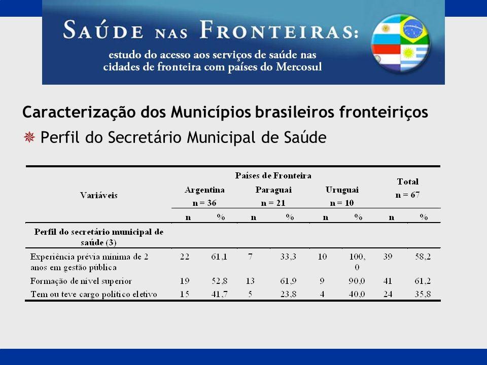 Caracterização dos Municípios brasileiros fronteiriços
