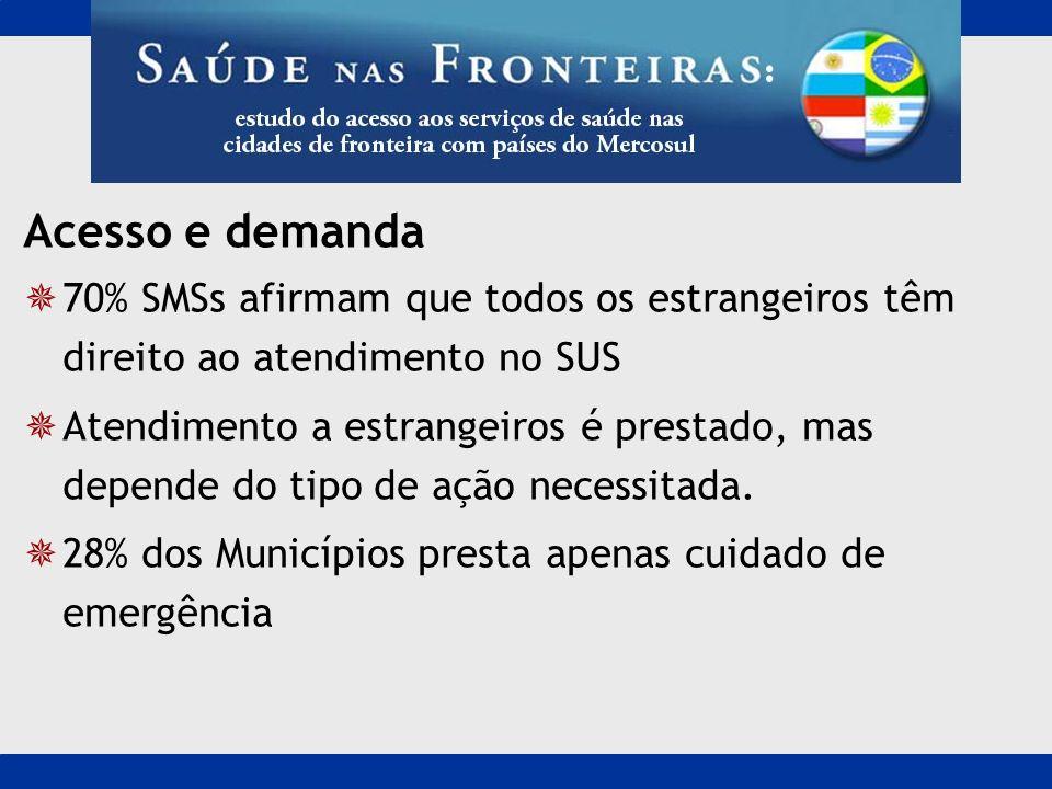 Acesso e demanda70% SMSs afirmam que todos os estrangeiros têm direito ao atendimento no SUS.