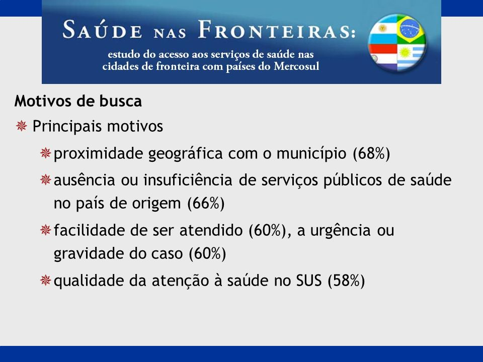 Motivos de buscaPrincipais motivos. proximidade geográfica com o município (68%)