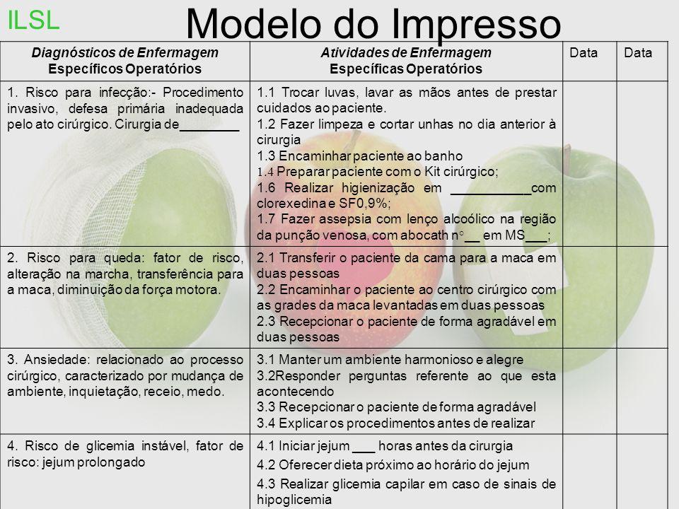 Modelo do Impresso ILSL Diagnósticos de Enfermagem