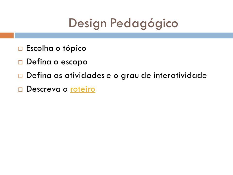 Design Pedagógico Escolha o tópico Defina o escopo