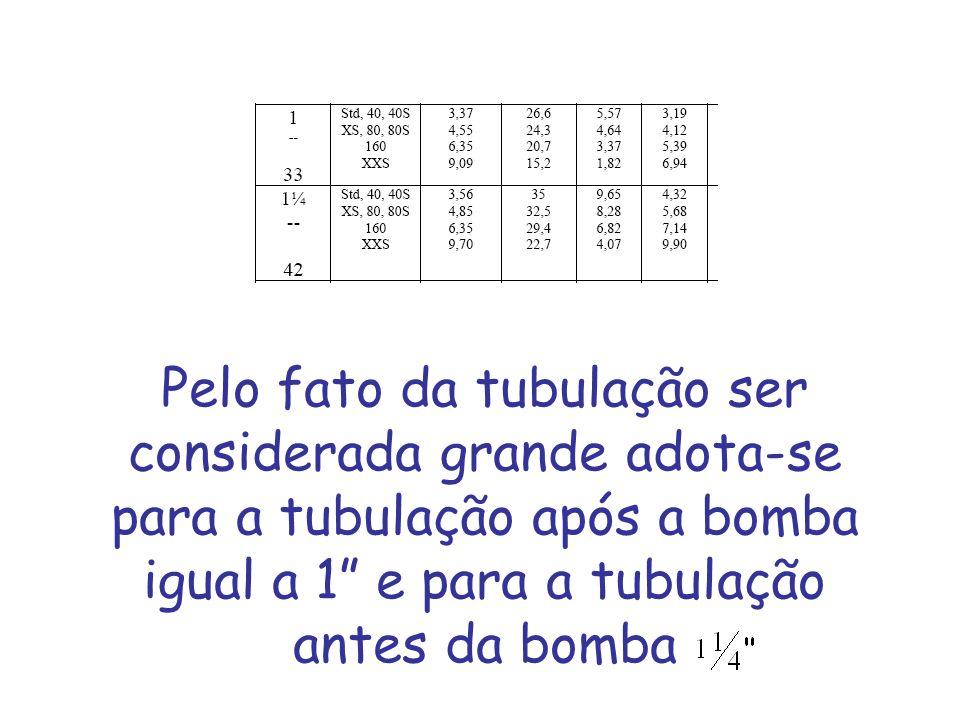 Pelo fato da tubulação ser considerada grande adota-se para a tubulação após a bomba igual a 1 e para a tubulação antes da bomba