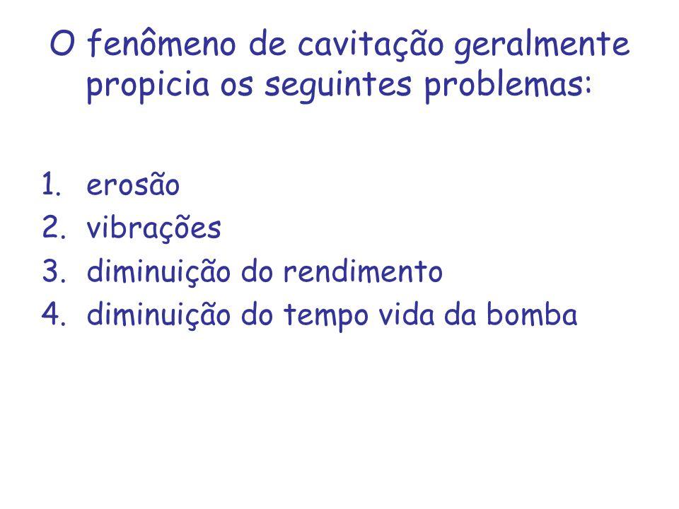 O fenômeno de cavitação geralmente propicia os seguintes problemas: