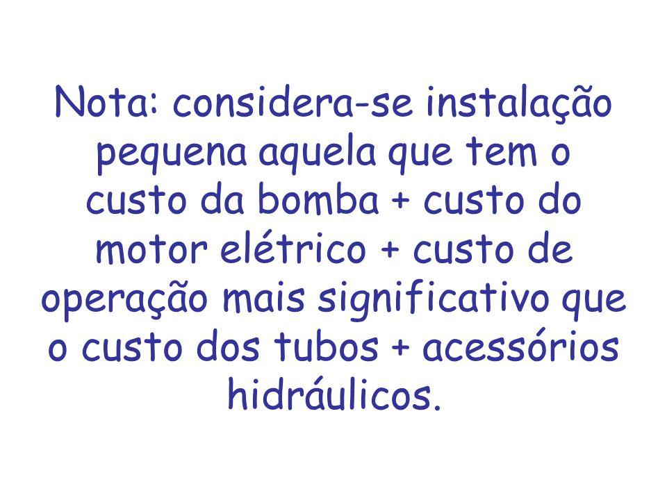 Nota: considera-se instalação pequena aquela que tem o custo da bomba + custo do motor elétrico + custo de operação mais significativo que o custo dos tubos + acessórios hidráulicos.