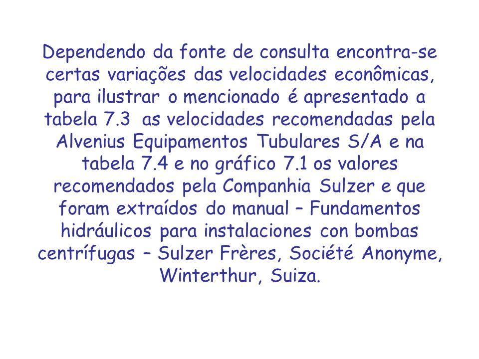 Dependendo da fonte de consulta encontra-se certas variações das velocidades econômicas, para ilustrar o mencionado é apresentado a tabela 7.3 as velocidades recomendadas pela Alvenius Equipamentos Tubulares S/A e na tabela 7.4 e no gráfico 7.1 os valores recomendados pela Companhia Sulzer e que foram extraídos do manual – Fundamentos hidráulicos para instalaciones con bombas centrífugas – Sulzer Frères, Société Anonyme, Winterthur, Suiza.