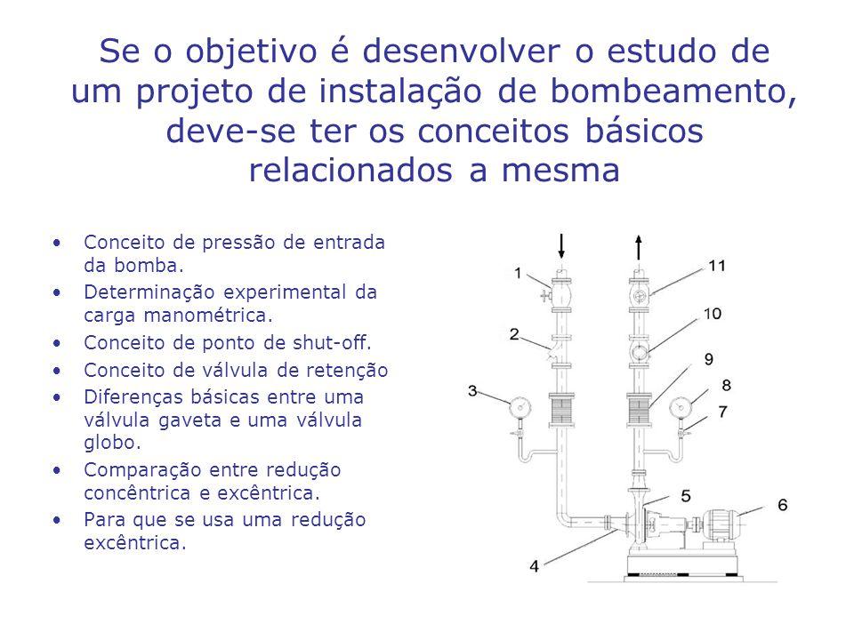 Se o objetivo é desenvolver o estudo de um projeto de instalação de bombeamento, deve-se ter os conceitos básicos relacionados a mesma