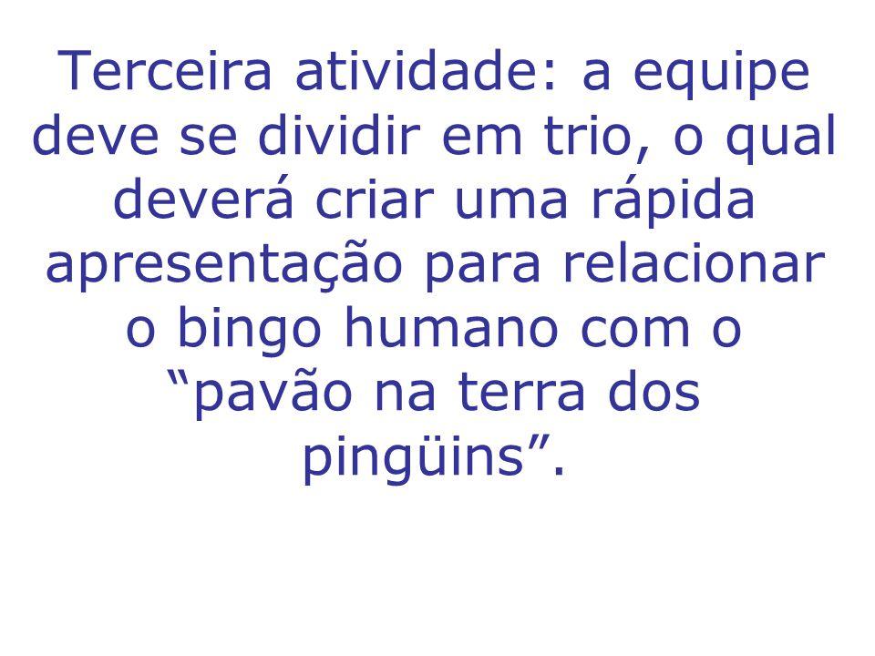 Terceira atividade: a equipe deve se dividir em trio, o qual deverá criar uma rápida apresentação para relacionar o bingo humano com o pavão na terra dos pingüins .