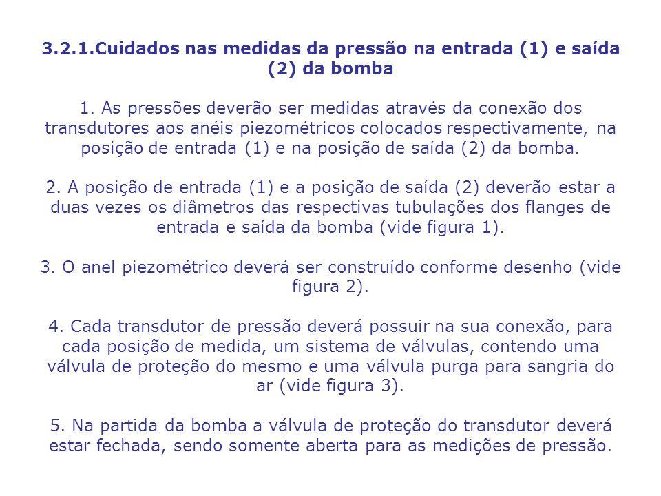 3.2.1.Cuidados nas medidas da pressão na entrada (1) e saída (2) da bomba 1.