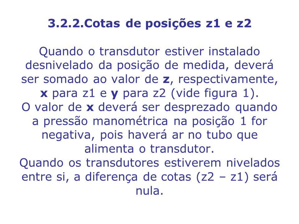 3.2.2.Cotas de posições z1 e z2 Quando o transdutor estiver instalado desnivelado da posição de medida, deverá ser somado ao valor de z, respectivamente, x para z1 e y para z2 (vide figura 1).