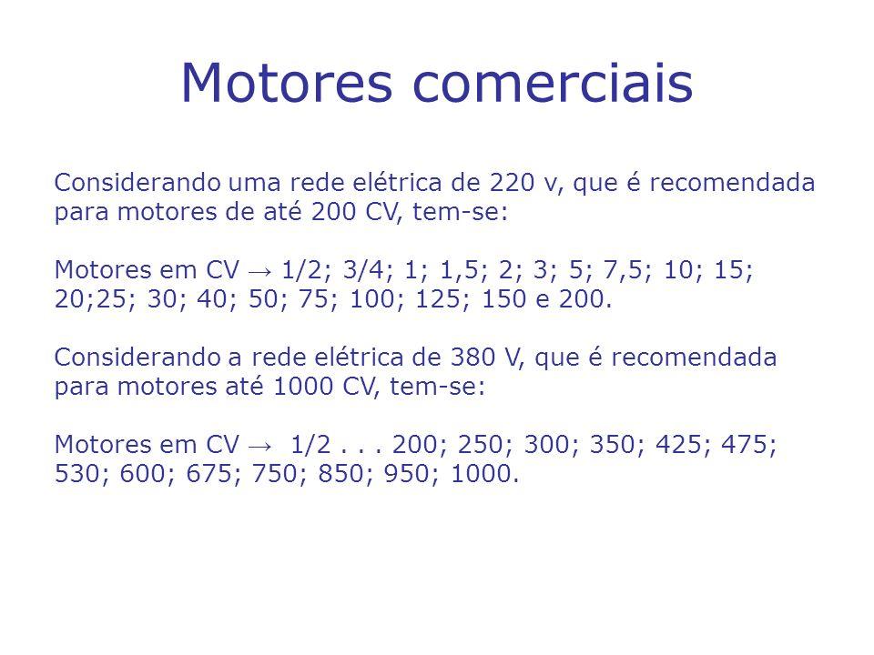 Motores comerciais Considerando uma rede elétrica de 220 v, que é recomendada para motores de até 200 CV, tem-se: