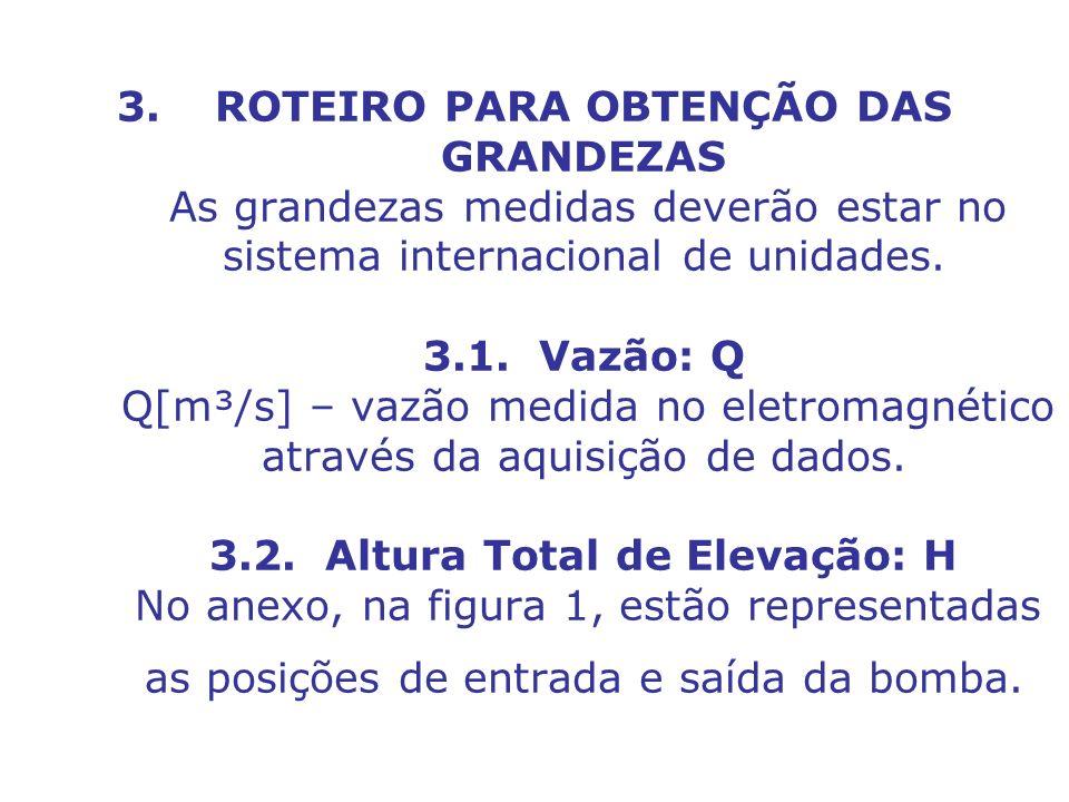 ROTEIRO PARA OBTENÇÃO DAS GRANDEZAS