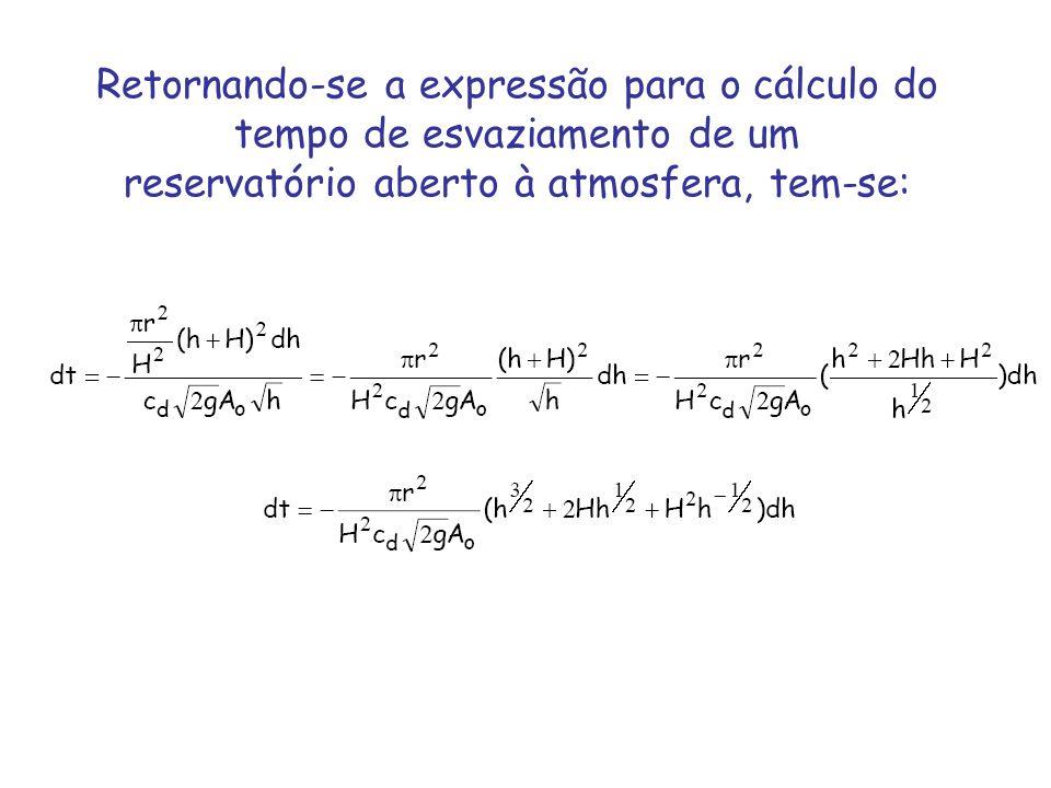 Retornando-se a expressão para o cálculo do tempo de esvaziamento de um reservatório aberto à atmosfera, tem-se: