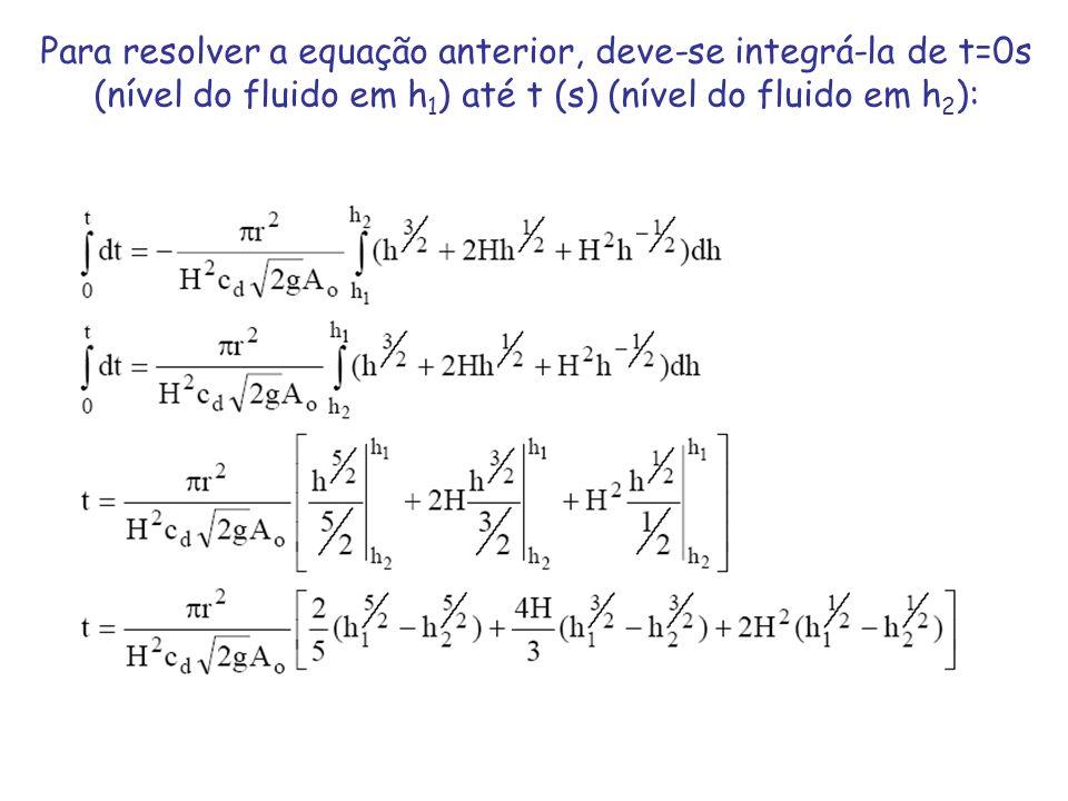 Para resolver a equação anterior, deve-se integrá-la de t=0s (nível do fluido em h1) até t (s) (nível do fluido em h2):