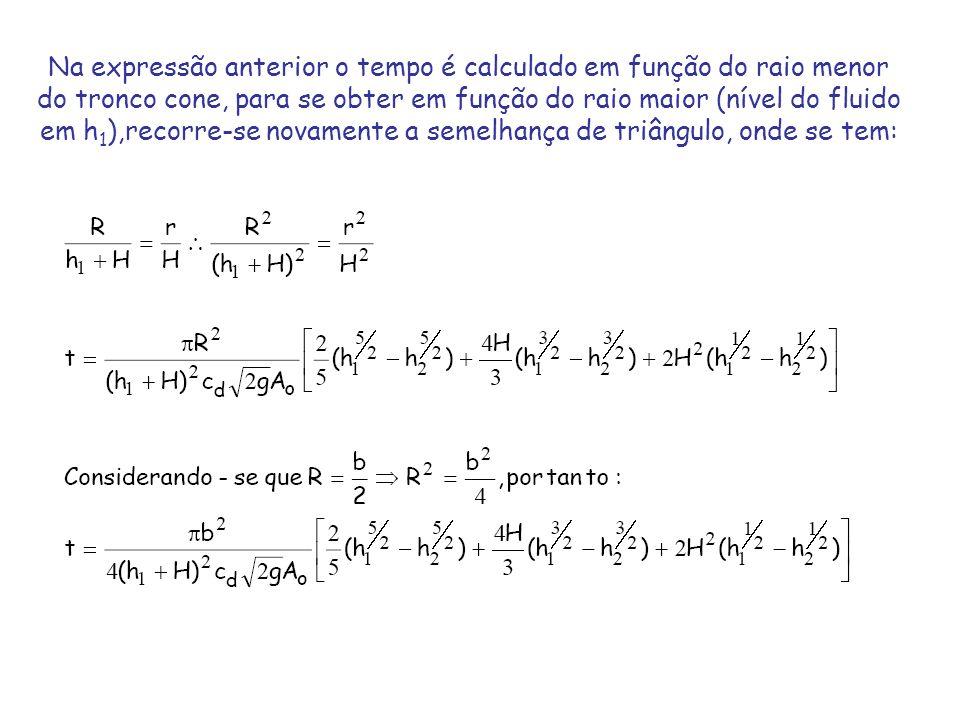 Na expressão anterior o tempo é calculado em função do raio menor do tronco cone, para se obter em função do raio maior (nível do fluido em h1),recorre-se novamente a semelhança de triângulo, onde se tem: