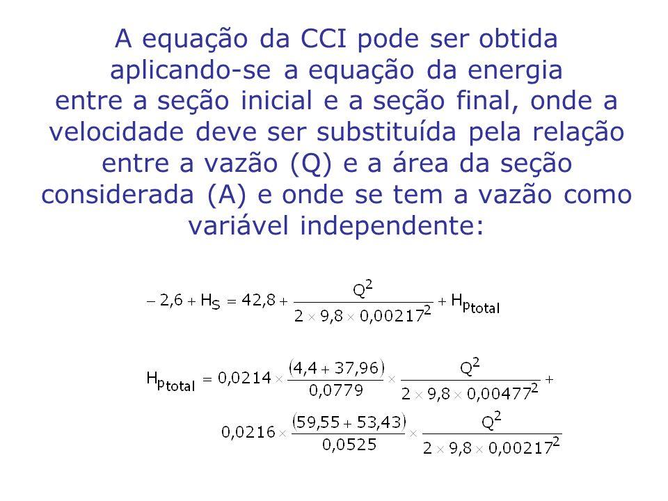 A equação da CCI pode ser obtida aplicando-se a equação da energia entre a seção inicial e a seção final, onde a velocidade deve ser substituída pela relação entre a vazão (Q) e a área da seção considerada (A) e onde se tem a vazão como variável independente: