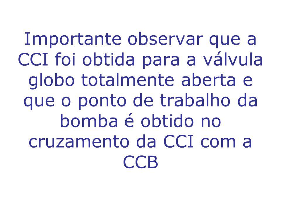 Importante observar que a CCI foi obtida para a válvula globo totalmente aberta e que o ponto de trabalho da bomba é obtido no cruzamento da CCI com a CCB