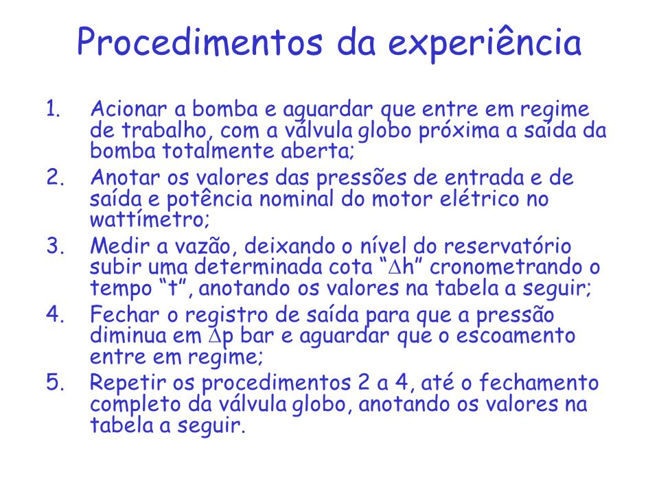 Procedimentos da experiência