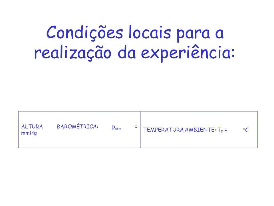 Condições locais para a realização da experiência: