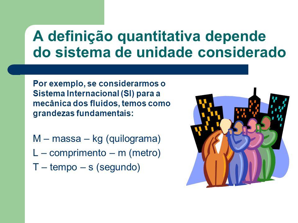 A definição quantitativa depende do sistema de unidade considerado