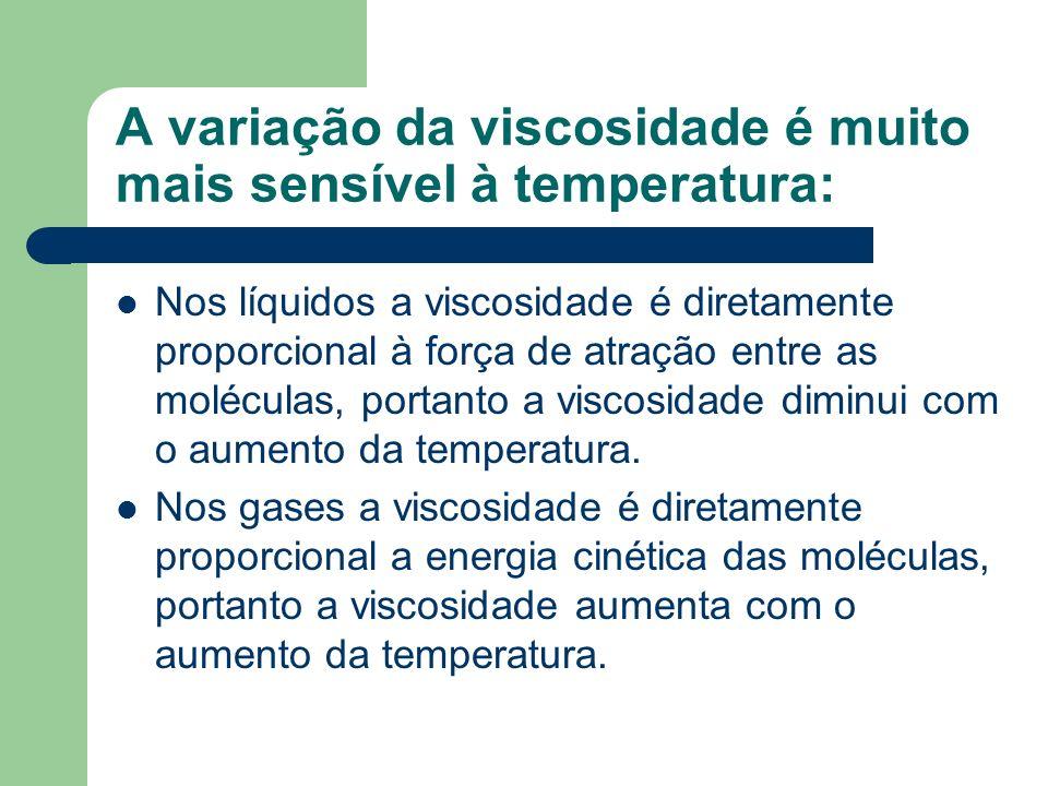 A variação da viscosidade é muito mais sensível à temperatura: