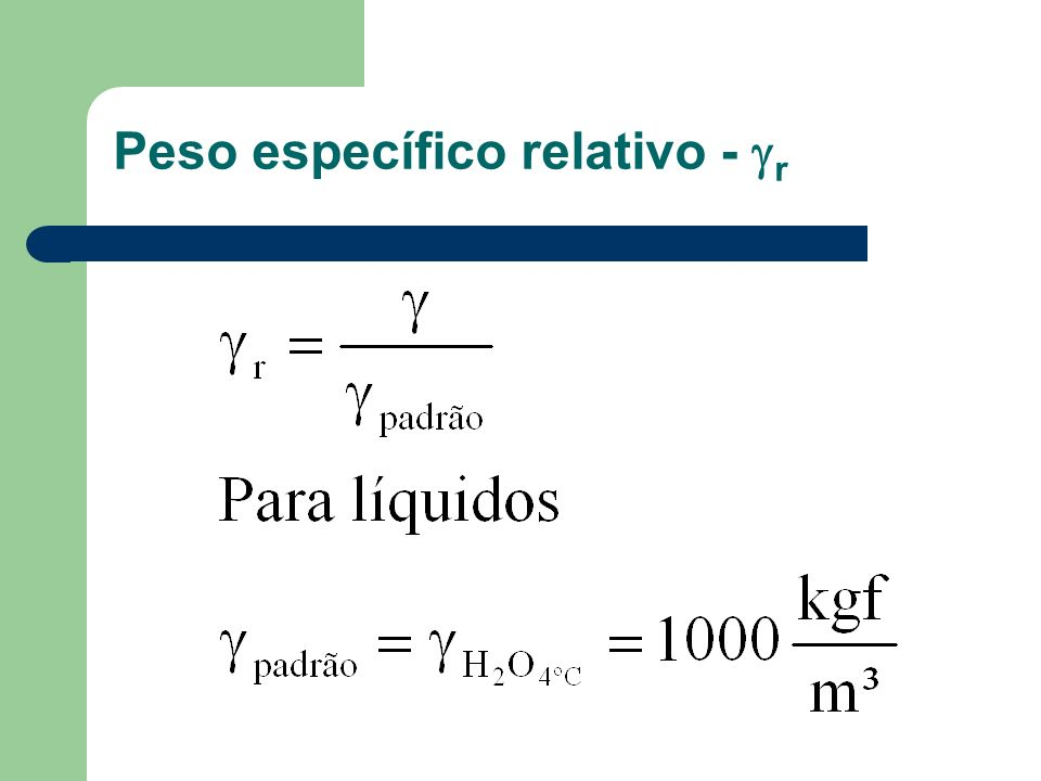 Peso específico relativo - r