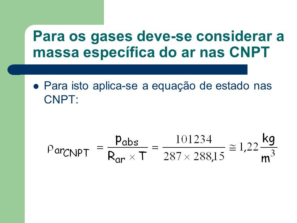 Para os gases deve-se considerar a massa específica do ar nas CNPT