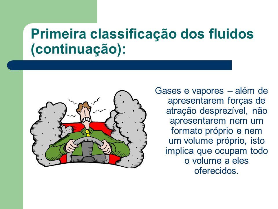 Primeira classificação dos fluidos (continuação):