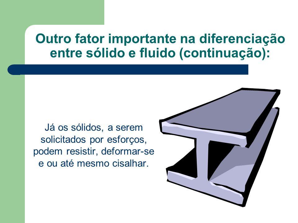 Outro fator importante na diferenciação entre sólido e fluido (continuação):