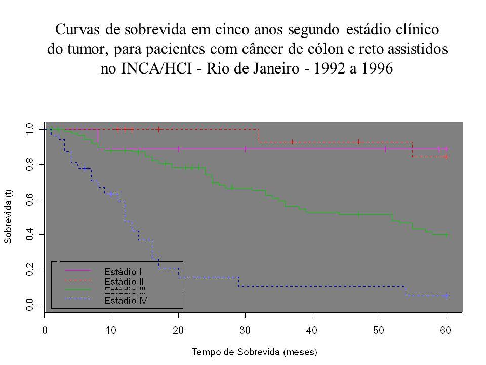Curvas de sobrevida em cinco anos segundo estádio clínico do tumor, para pacientes com câncer de cólon e reto assistidos no INCA/HCI - Rio de Janeiro - 1992 a 1996