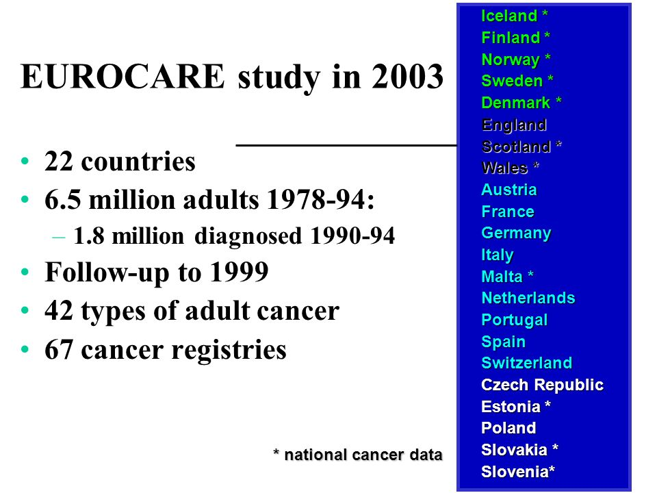 EUROCARE study in 2003 22 countries 6.5 million adults 1978-94: