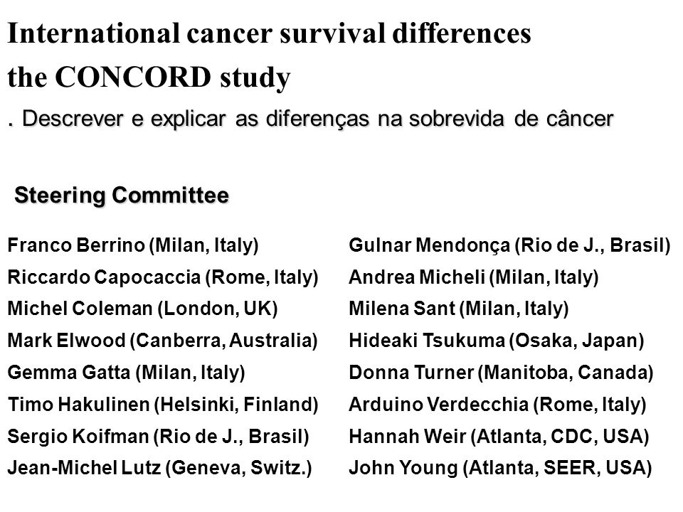 International cancer survival differences the CONCORD study