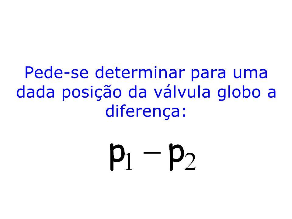 Pede-se determinar para uma dada posição da válvula globo a diferença: