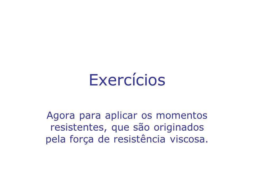 Exercícios Agora para aplicar os momentos resistentes, que são originados pela força de resistência viscosa.