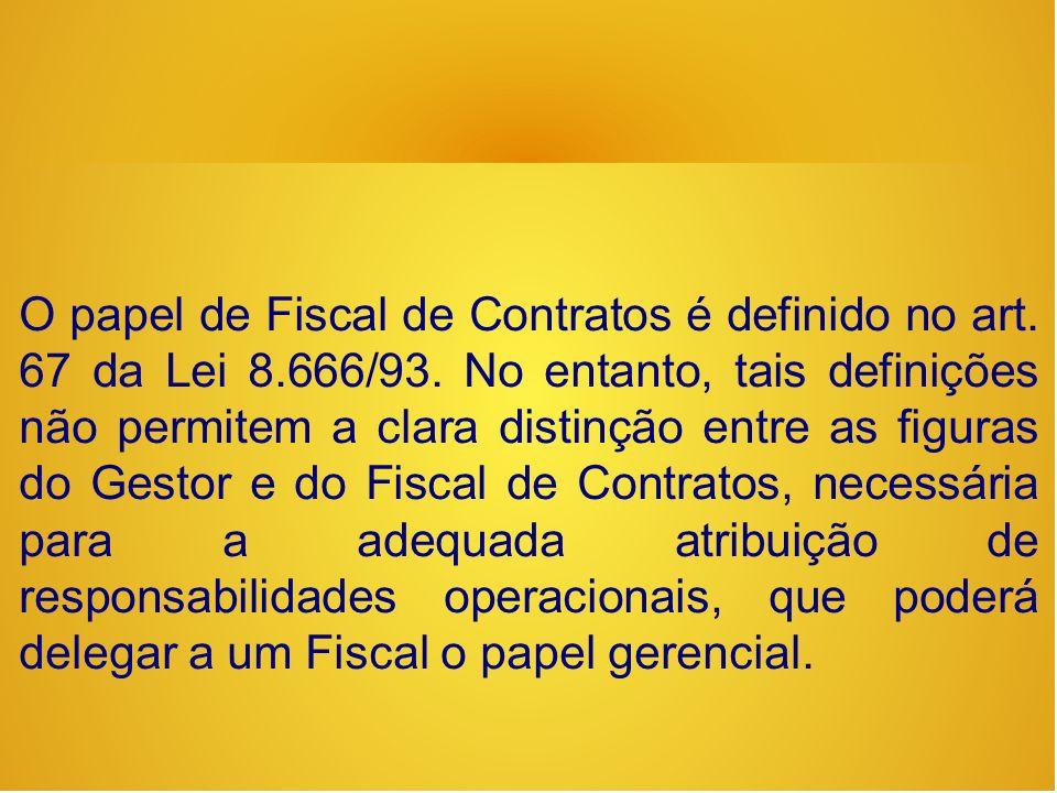 O papel de Fiscal de Contratos é definido no art. 67 da Lei 8. 666/93