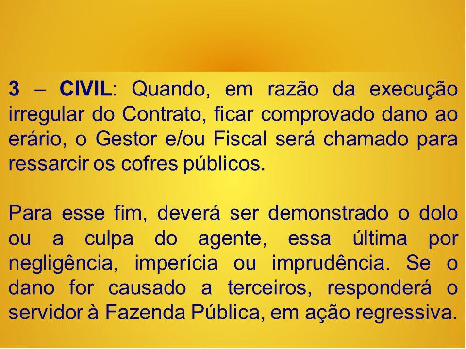 3 – CIVIL: Quando, em razão da execução irregular do Contrato, ficar comprovado dano ao erário, o Gestor e/ou Fiscal será chamado para ressarcir os cofres públicos.