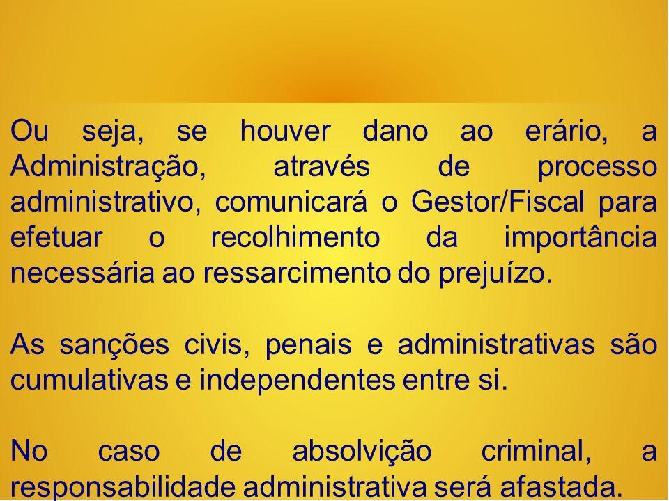 Ou seja, se houver dano ao erário, a Administração, através de processo administrativo, comunicará o Gestor/Fiscal para efetuar o recolhimento da importância necessária ao ressarcimento do prejuízo.