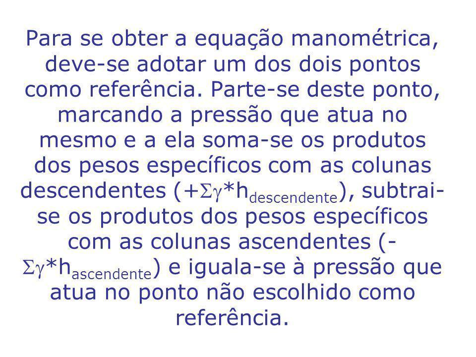 Para se obter a equação manométrica, deve-se adotar um dos dois pontos como referência.