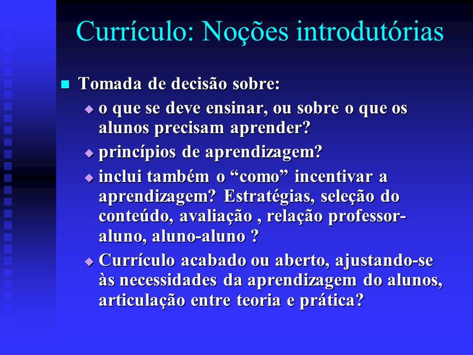 Currículo: Noções introdutórias