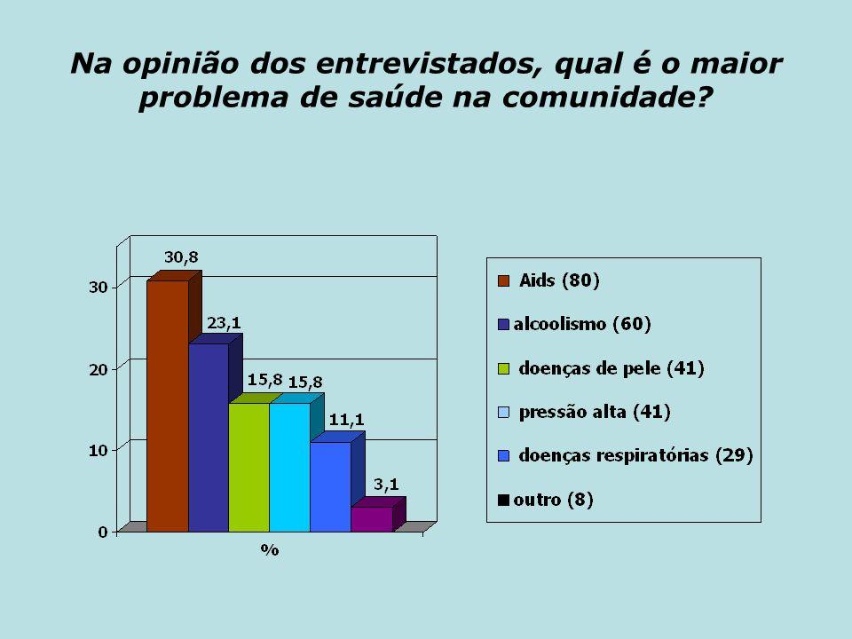 Na opinião dos entrevistados, qual é o maior problema de saúde na comunidade