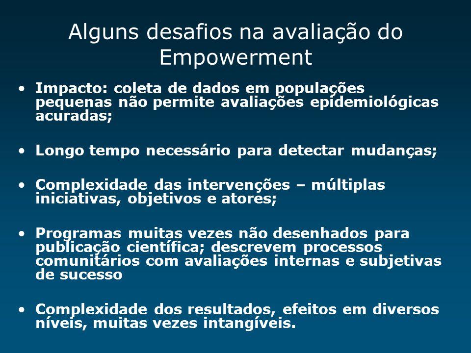 Alguns desafios na avaliação do Empowerment