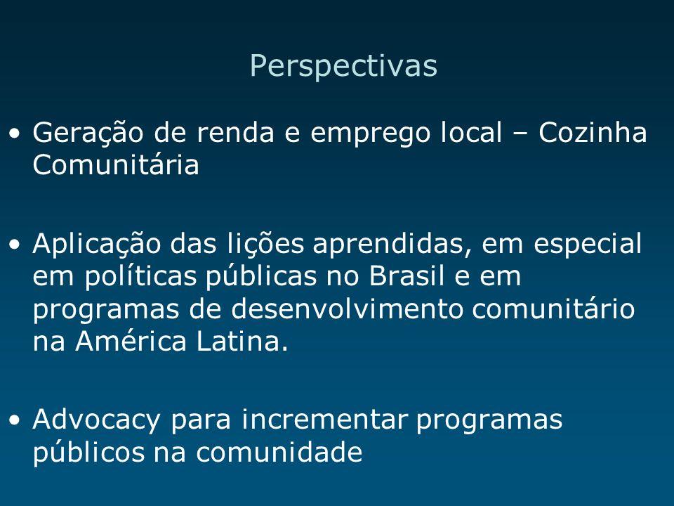 Perspectivas Geração de renda e emprego local – Cozinha Comunitária