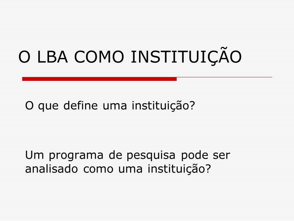 O LBA COMO INSTITUIÇÃO O que define uma instituição