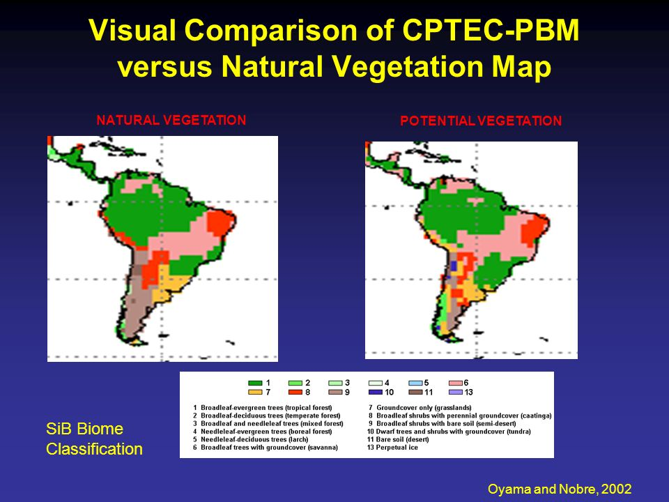 Visual Comparison of CPTEC-PBM versus Natural Vegetation Map