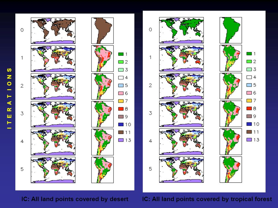 I T E R A T I O N SIC: All land points covered by desert IC: All land points covered by tropical forest.