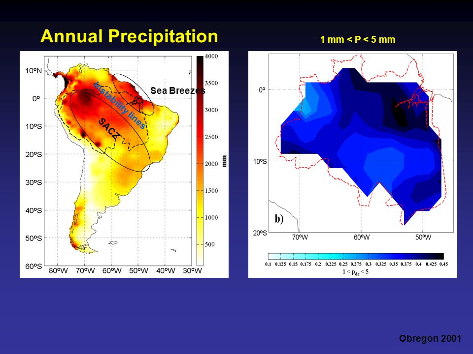 Annual Precipitation 1 mm < P < 5 mm Sea Breezes