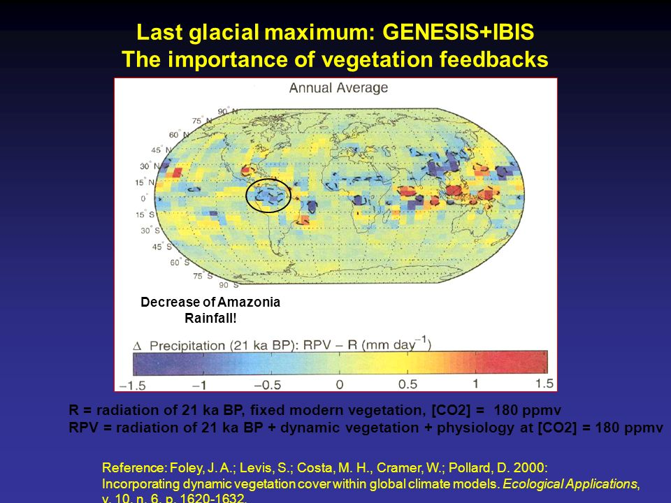 Last glacial maximum: GENESIS+IBIS The importance of vegetation feedbacks
