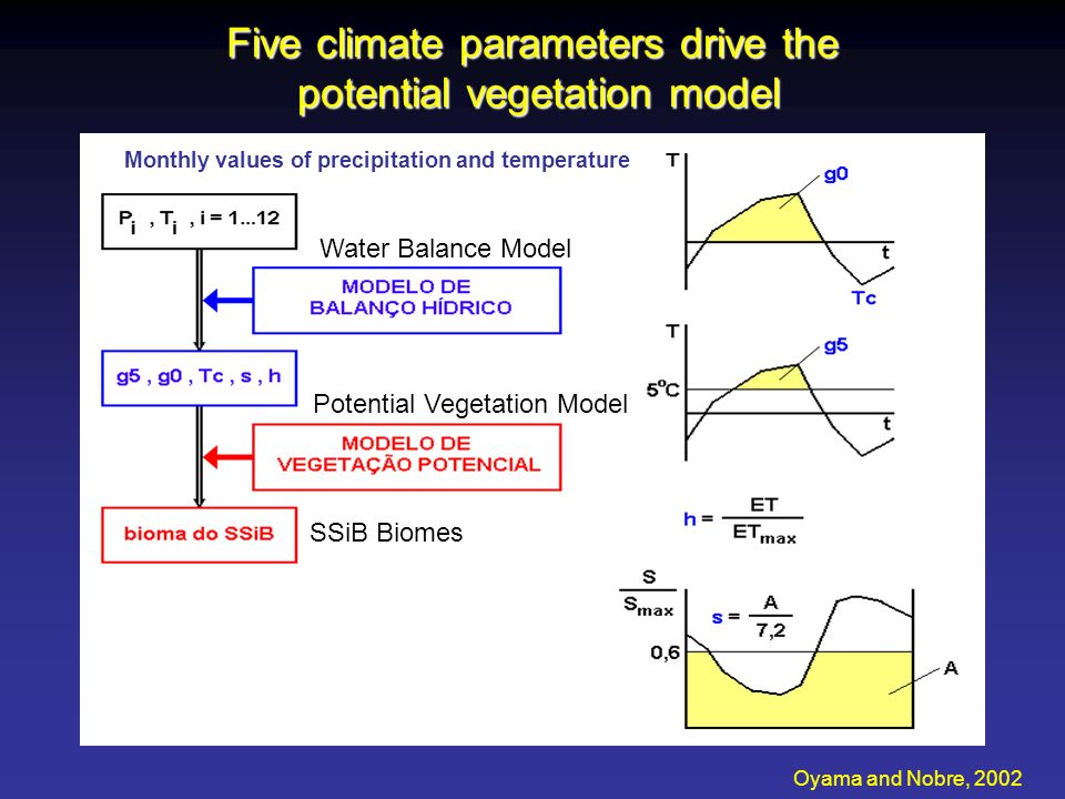 Five climate parameters drive the potential vegetation model